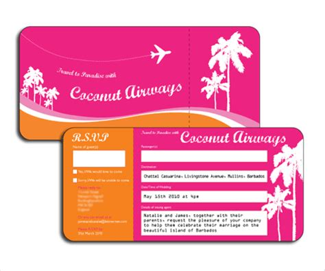 22 Wedding Invitations Free Premium Templates Plane Ticket Wedding Invitation Template Free