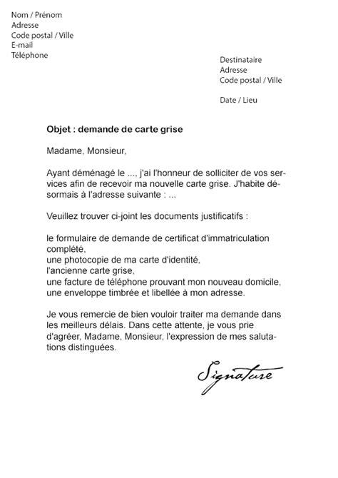 Lettre De Recommandation Utile Lettre De Demande De Carte Grise Mod 232 Le De Lettre