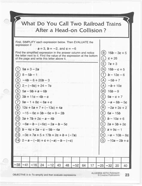 pizzazz math worksheets answers cockpito