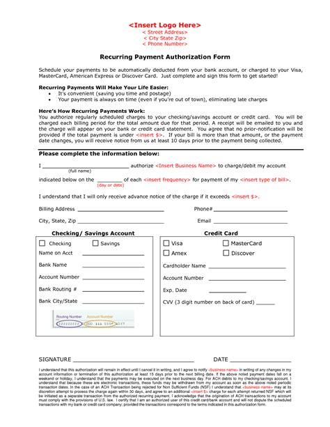 payment form template ach authorization form template template design