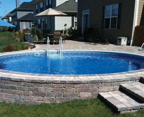 in ground pool ideas semi inground pool decks backyard design ideas