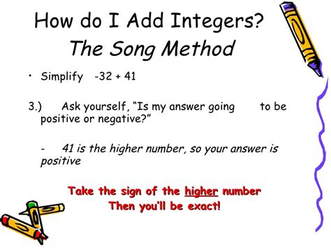 row row your boat integer song adding integers notes song method