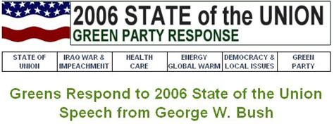 State Of The Union Bush Admits Climate Needs Attention green of county january 2006