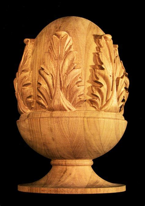 Finial   Classic Acanthus Carved Wood