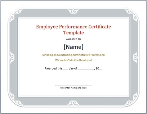 employee performance certificate template word templates