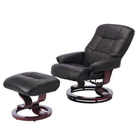 Santos Leather Recliner Chair And Footstool Black