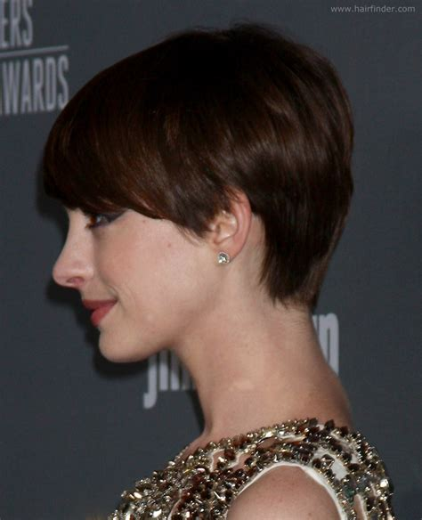 backview of a belved haircut anne hathaway slightly grown out pixie haircut with