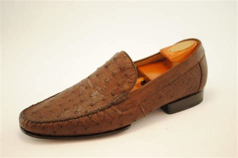 ostrich skin loafers alan payne vitto genuine ostrich loafers tobacco