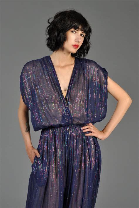 Wowhomme Gauze Striped Sheer M6132r metallic 70s rainbow lurex striped gauze jumpsuit bustown modern