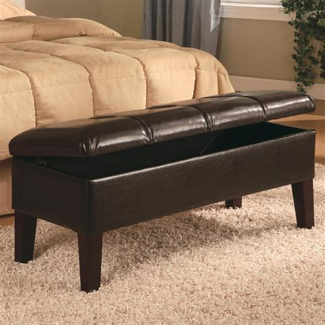 leather bedroom bench brown bonded leather storage ottoman bench with by coaster 300358 ebay