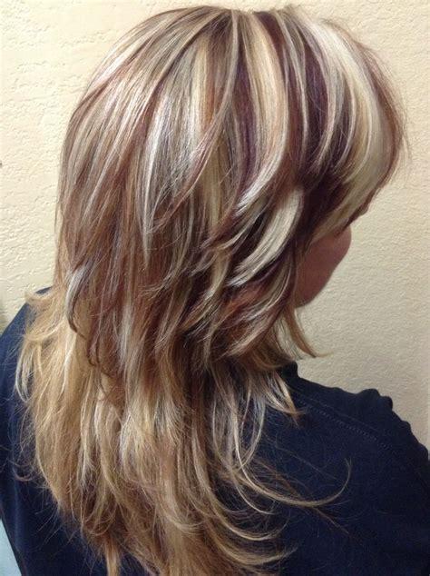 hairstyles blonde with dark highlights blonde dark redbrown lites hair highlights pinterest