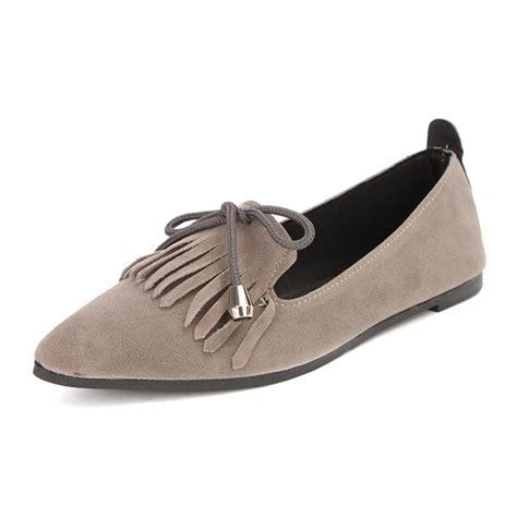 Flat Toe Loafers bowknot suede pointed toe loafers flat tassels pumps shoes