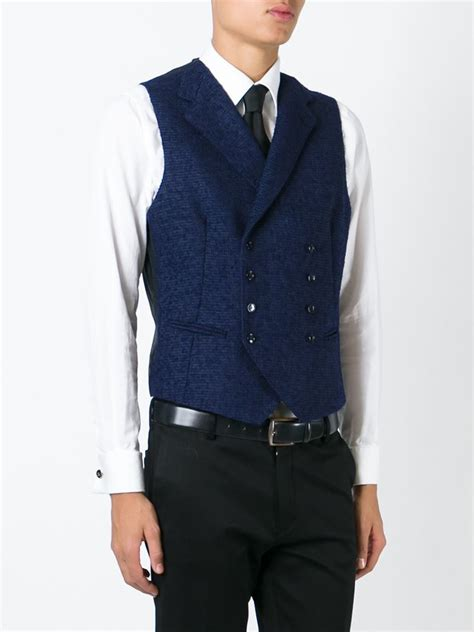 Mes Studded 3in1 lyst tagliatore breasted waistcoat in blue for