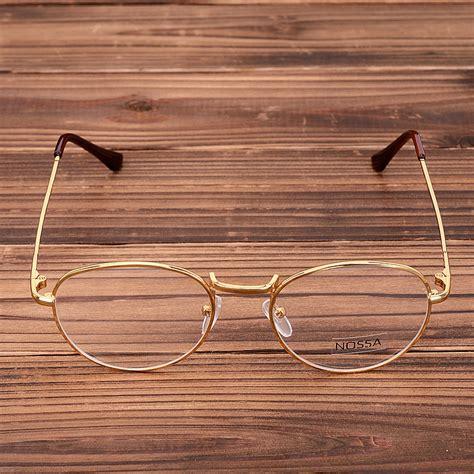 Kacamata Bingkai Hitam Metal Spectacles copper glasses frame retro metal eyeglasses frame clear lens bronze myopia