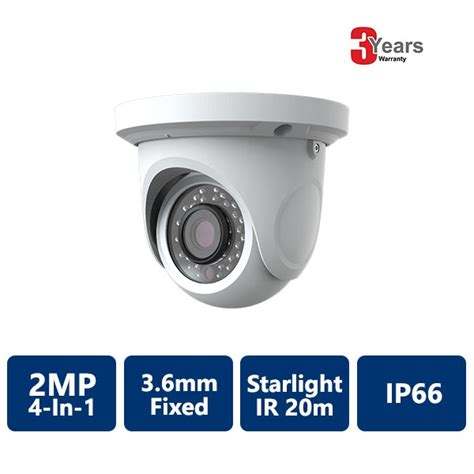 starlight mp 2 mp starlight ir water resistant dome camera security