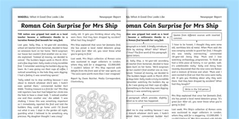 Wagoll Newspaper Report Writing Sample