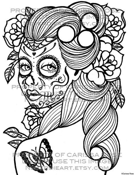 detailed coloring pages skull girl pictures to pin on