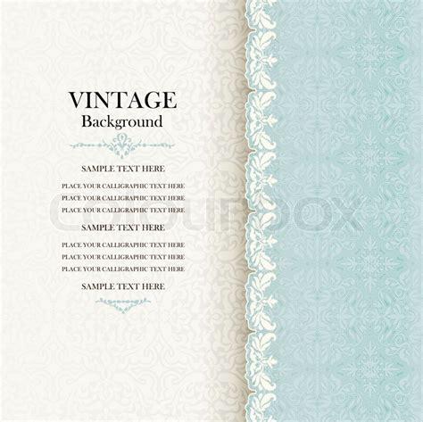 Muster Einladung Karte Vintage Hintergrund Antike Einladung Karte Blau Mit