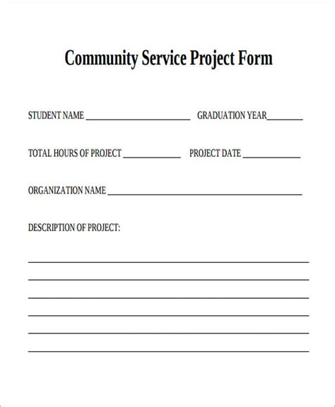 Community Service Form Template 28 Images Sle Service Hour Form 13 Free Documents In Free Community Service Form Template