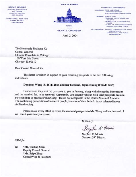 Letter To Embassy For Passport Renewal Kansas State Senator Requests That Consulate In Chicago Return The Passports Of Falun