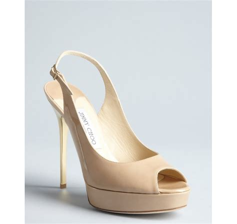 Shoes Of The Day Miss Beige Patent Peep Toe Pumps by Jimmy Choo Beige Patent Leather Shaw Peep Toe Slingback