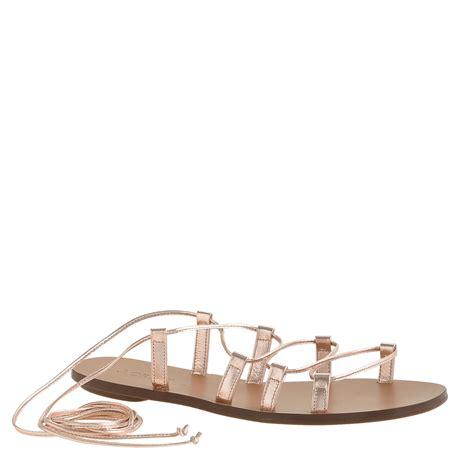 metallic gladiator sandals j crew metallic blush lace up gladiator sandals in pink lyst