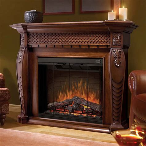 vienna burnished walnut electric fireplace mantel package
