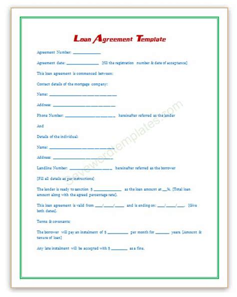 personal loan template word loan agreement template save word templates