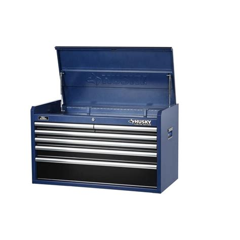 husky 36 in 6 drawer tool chest blue body and black