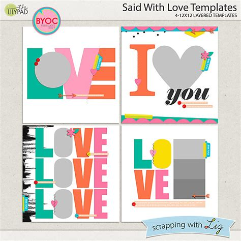 digital scrapbook template said with love scrapping