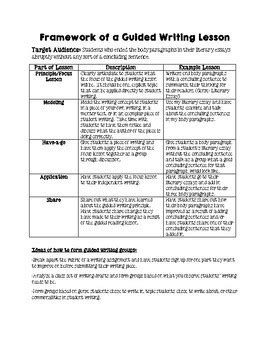 guided writing template guided writing lesson plan template framework and data