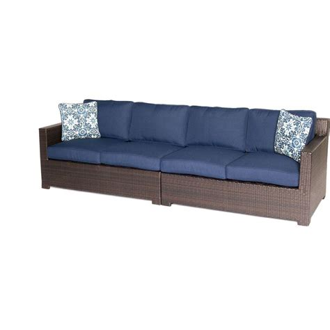 all weather wicker loveseat hanover metropolitan brown 2 piece aluminum all weather