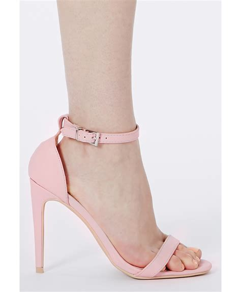 missguided clara pink strappy heeled sandals in pink lyst