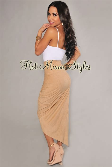 ruched asymmetrical draped skirt nude faux suede ruched asymmetrical draped skirt