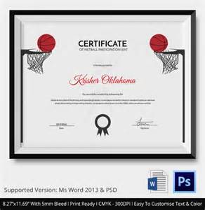 Of The Match Certificate Template by Netball Certificate Template 5 Word Psd Format