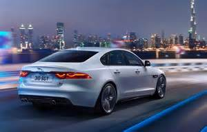 2017 jaguar xf rear view whitecolor taillights tailpipe and badges