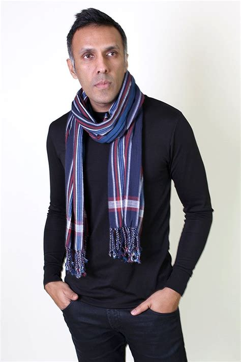 s george modern stripe fashion scarf blue at cold