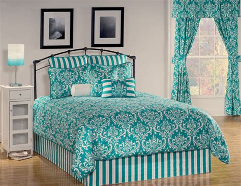 Teal Damask Comforter 9pc teal classic medallion damask design comforter set