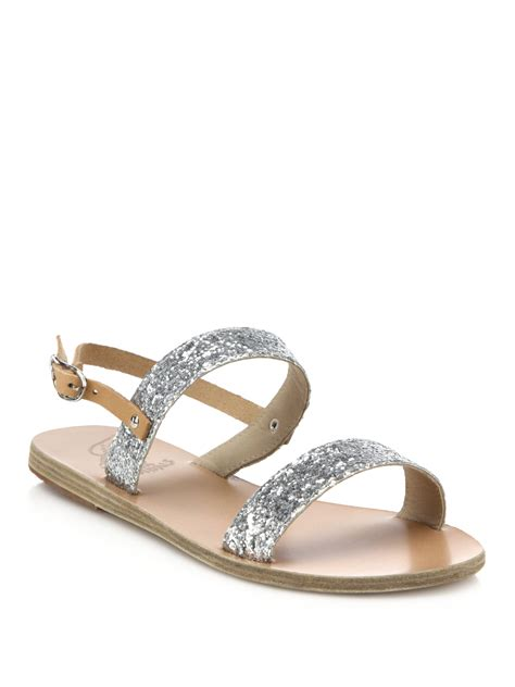 ancient sandal ancient sandals clio glitter leather sandals in