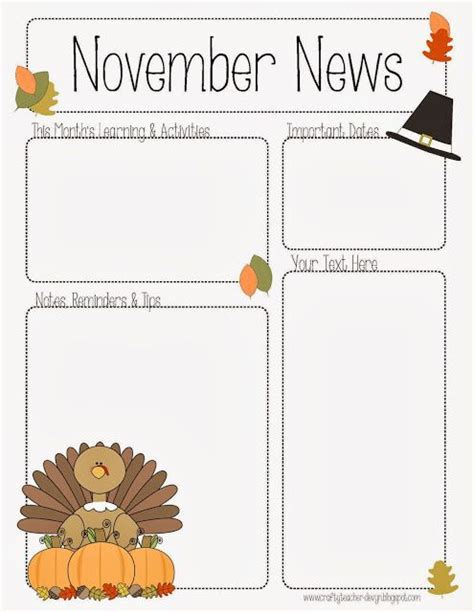 november newsletter template the crafty teacher