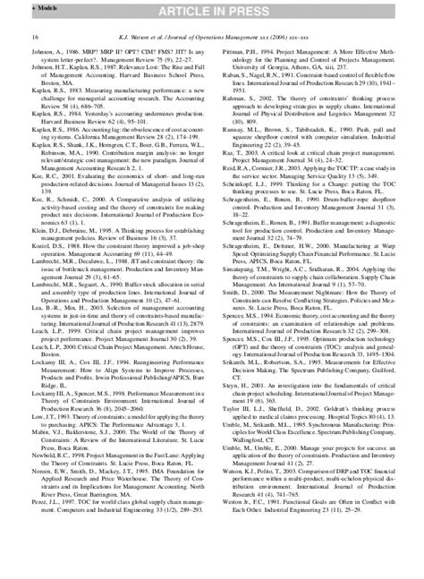 Mba Research Montvale Nj by Watson Jom Evolution Of Toc