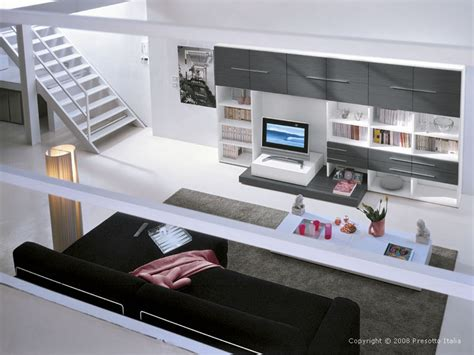 italian style living space decoration concepts modern living room simple stairs and black sofa in grey modern