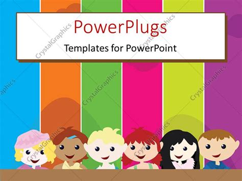 themes for cartoons powerpoint template a cartoon theme of six kids standing