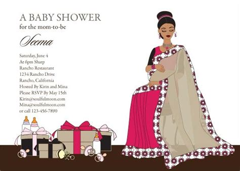 chic indian baby shower invitations by