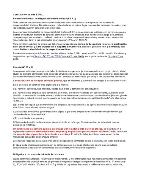 minutas modelo eirl constitucion empresa eirl