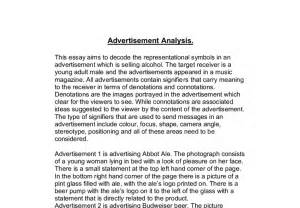 An Essay On Advertisement by Advertisement Analysis A Level Media Studies Marked By Teachers