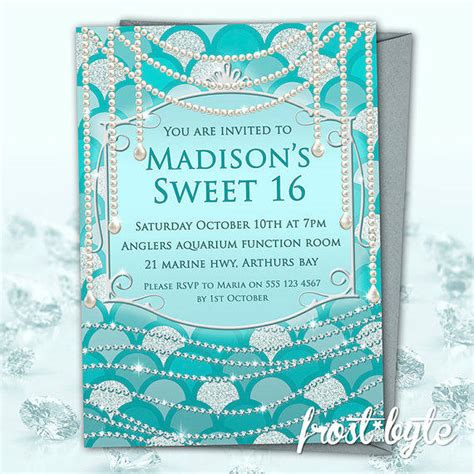 Sweety Gold M34 Free 6 blue sweet 16 invitations from frostbyte on etsy