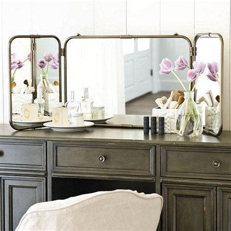 tri fold vanity mirrors bathroom home design ideas tri fold vanity mirror ballard designs