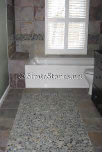 pebble tiles bathroom floor pebble surrounded by tile for the bathroom loveeee and