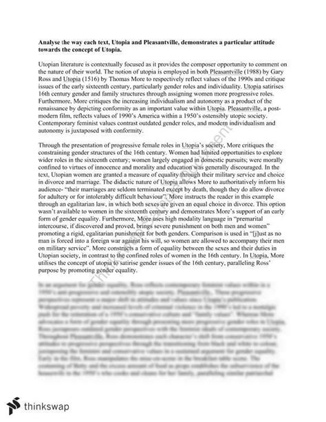 Utopia Essay by Utopia And Pleasantville Comparative Essay Year 11 Hsc Advanced Thinkswap